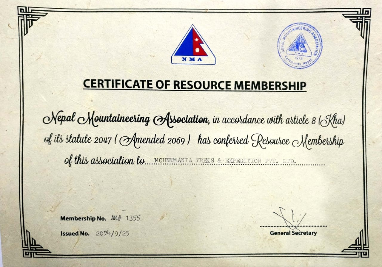 Nepal Mountaineering Association Certificate