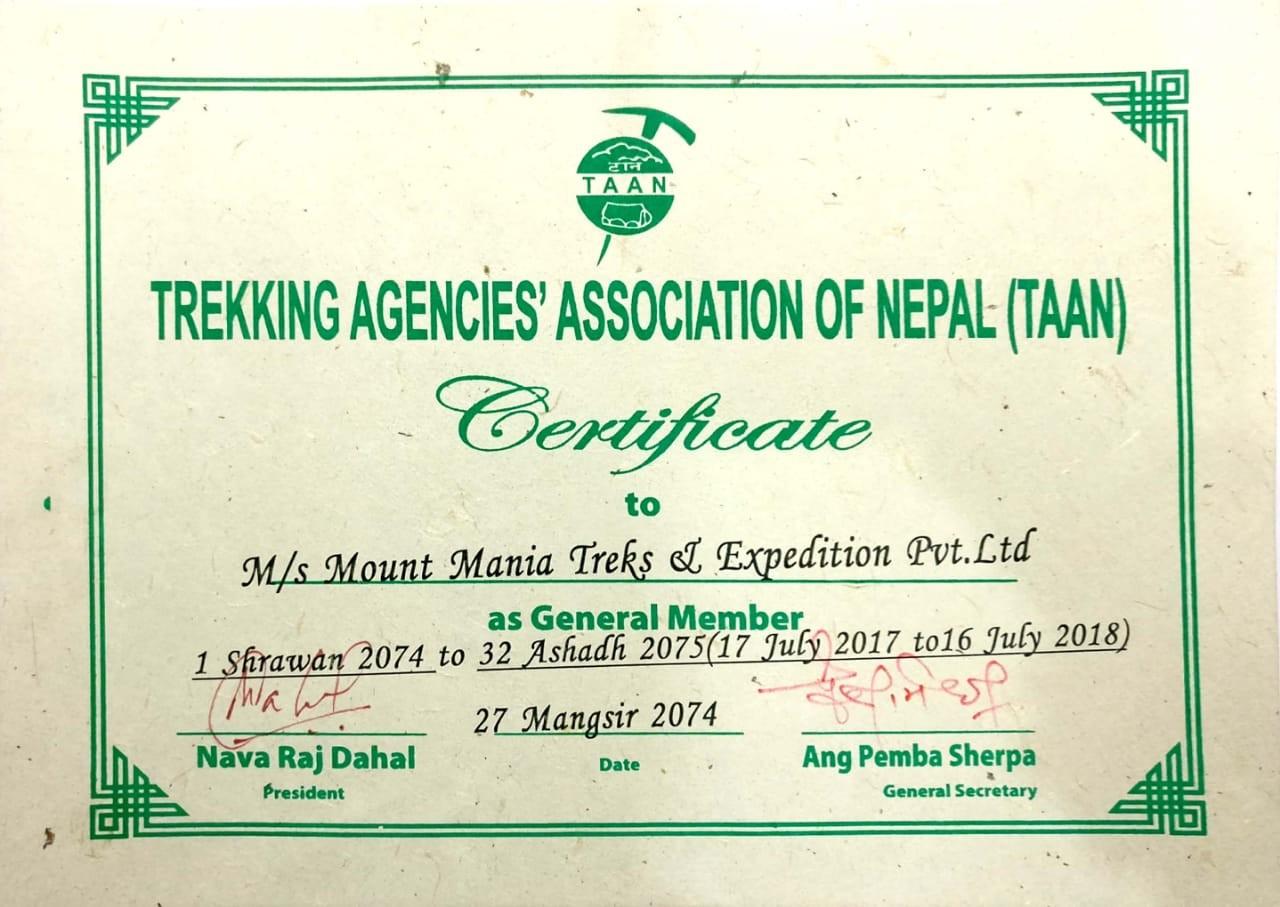 Trekking Agencies' Association of Nepal Certificate