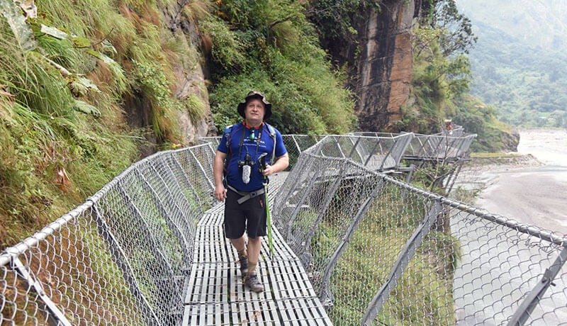 cantilever bridge in manaslu trek